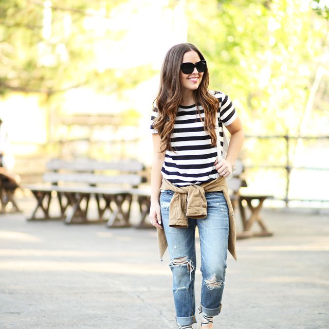Woman in stripes and jeans for casual style