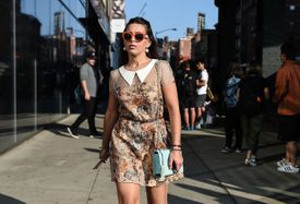 Street style woman in spring floral dress