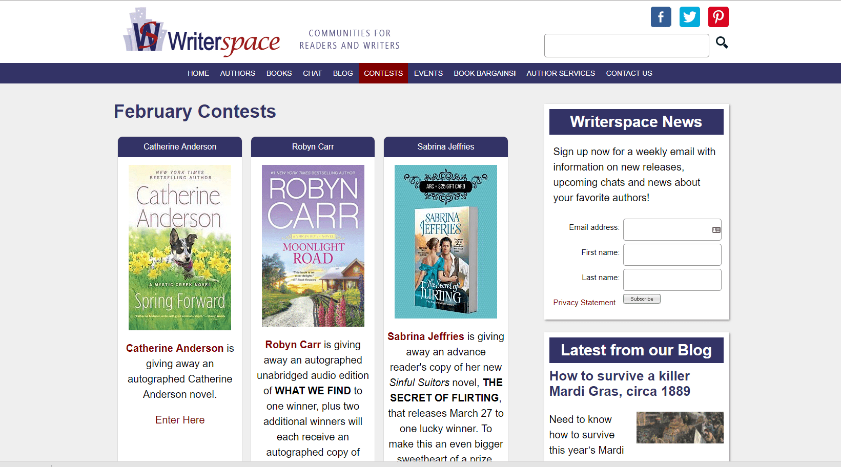 Screenshot of Writerspace's Giveaway Page