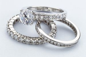Photo of three diamond rings, illustrating About.com's Jewelry Sweepstakes List.