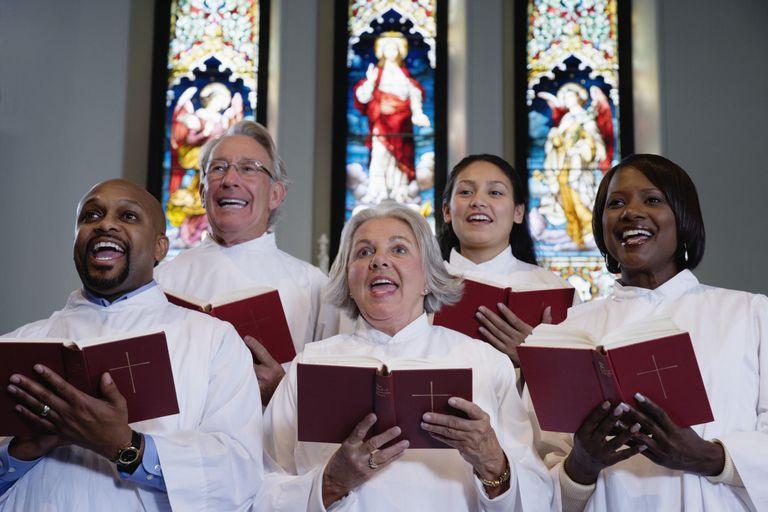 Choir singing in church.