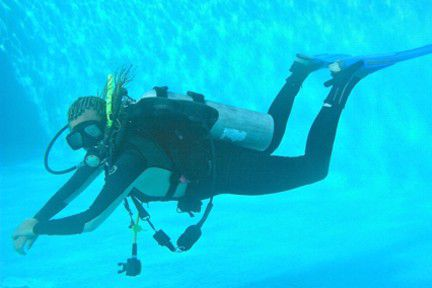 A diver with neutral buoyancy