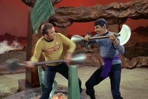 Kirk (Shatner) and Spock (Nimoy) fight in the Star Trek episode
