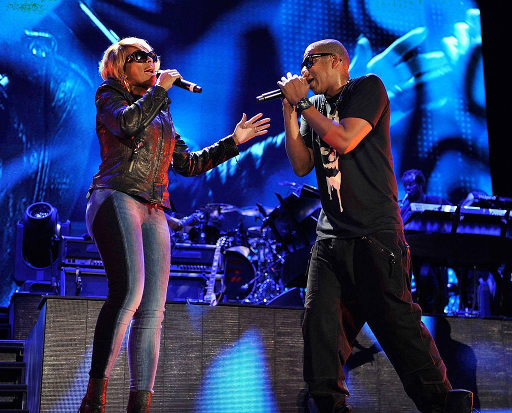 Jay-Z and Mary J Blige perform at Yankee Stadium