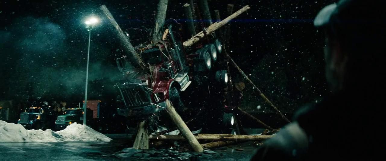 Still of impaled truck from Man of Steel.