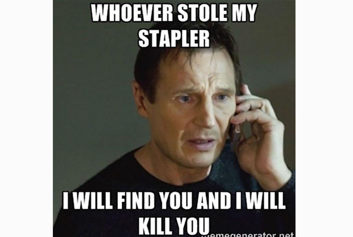 Liam Neeson stapler meme