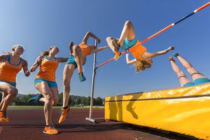 Sequence of high jumper crossing bar