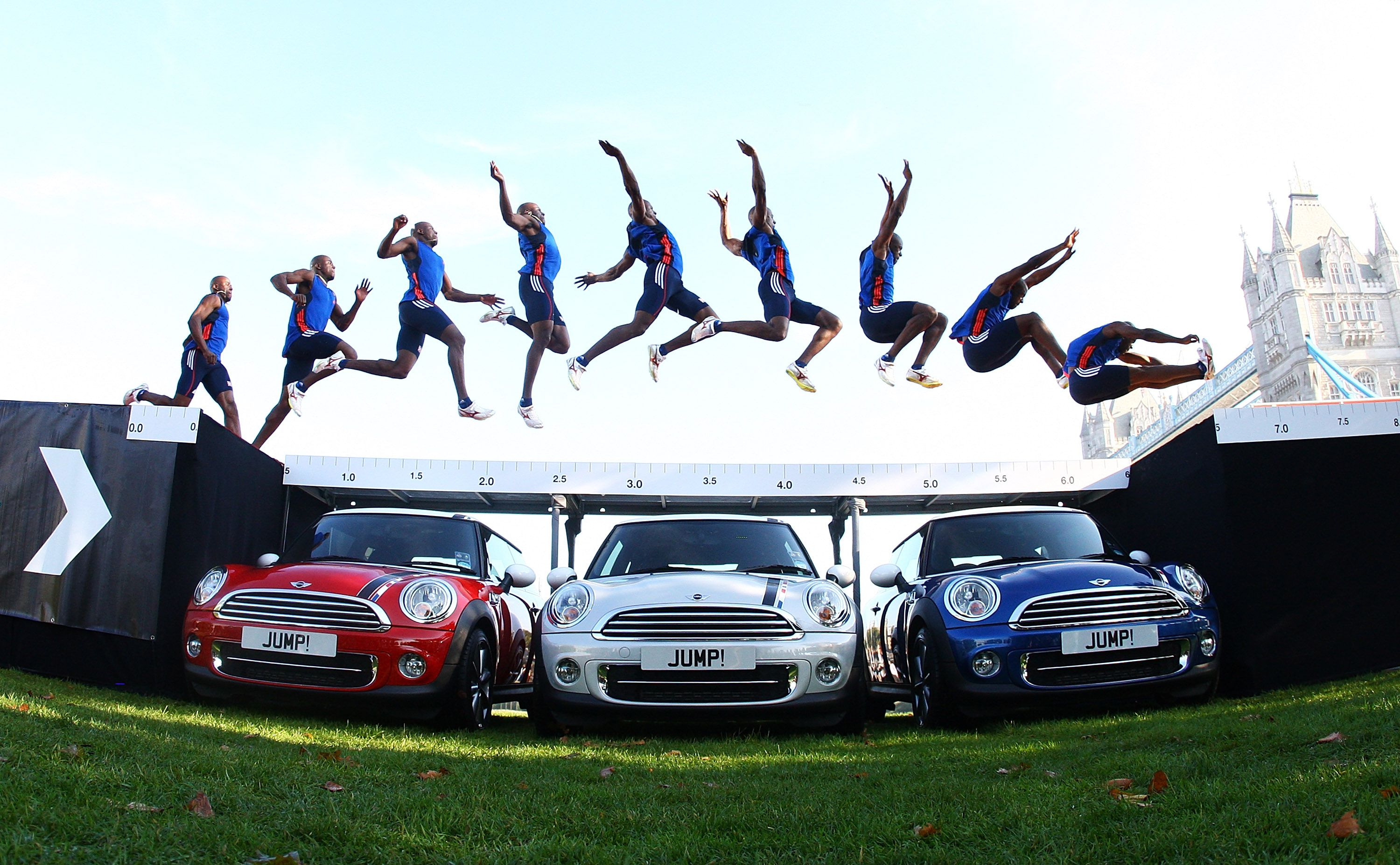 J.J. Jegede attempts an exhibition jump over three Limited edition 2012 MINIs