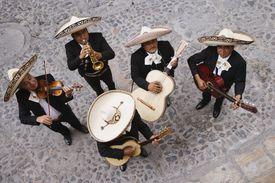 High angle view of Mariachi band