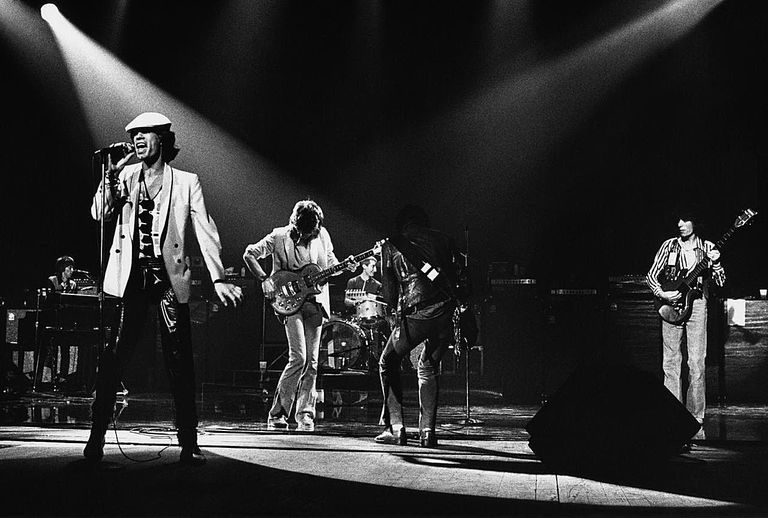 Mick Jagger, lead singer of the British rock band The Rolling Stones, performs on stage during a 1980 Atlanta, Georgia, concert at the Fox Theatre.