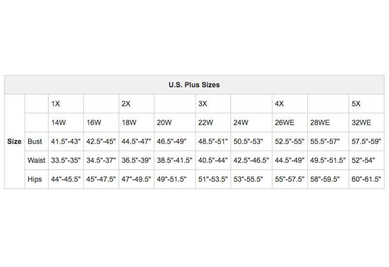U S  Women's Apparel Size Charts
