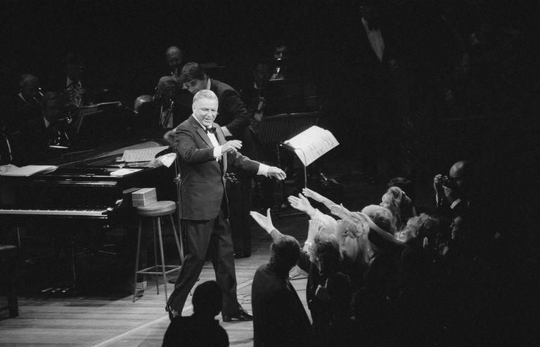 Frank Sinatra performing in concert