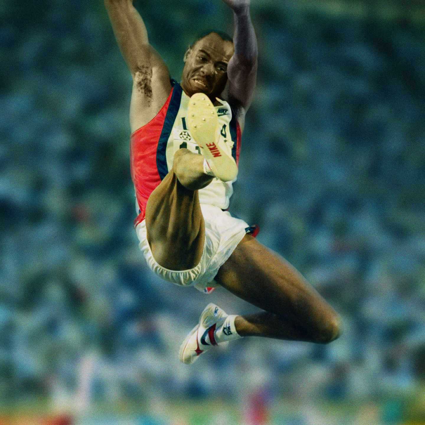 Mike Powell of the United State during the Long Jump event