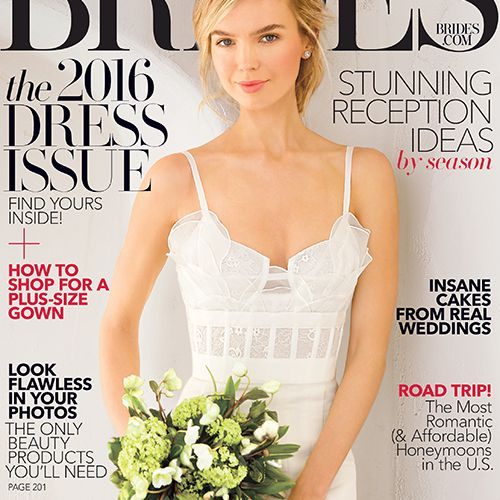 The April/May 2016 cover of Brides magazine.