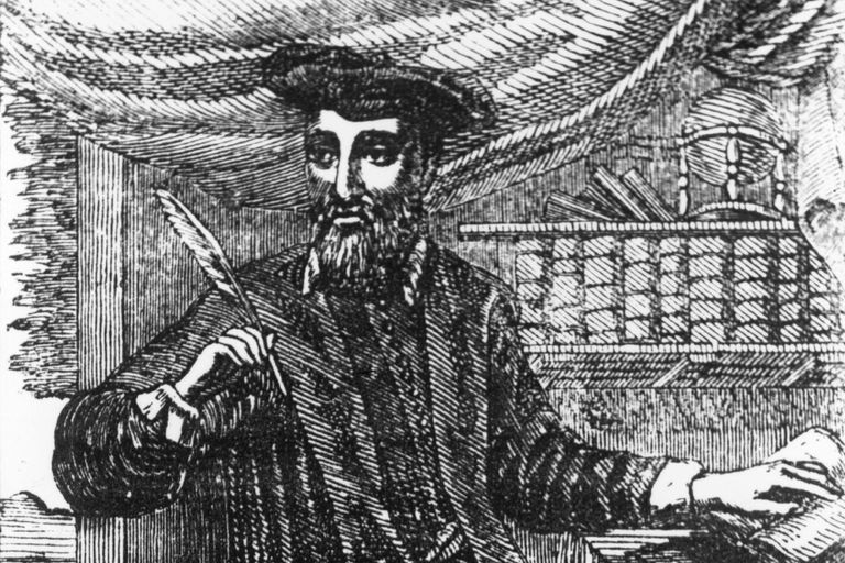 Nostradamus with quill and book