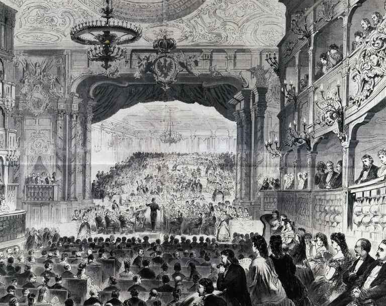 Composer Richard Wagner conducts an orchestra in 1872.