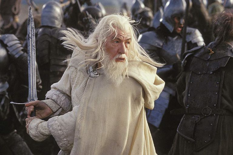 Actor Ian McKellan as Gandalf the White in a battle scene in the 2003 film 'The Lord of the Rings: The Return of the King'