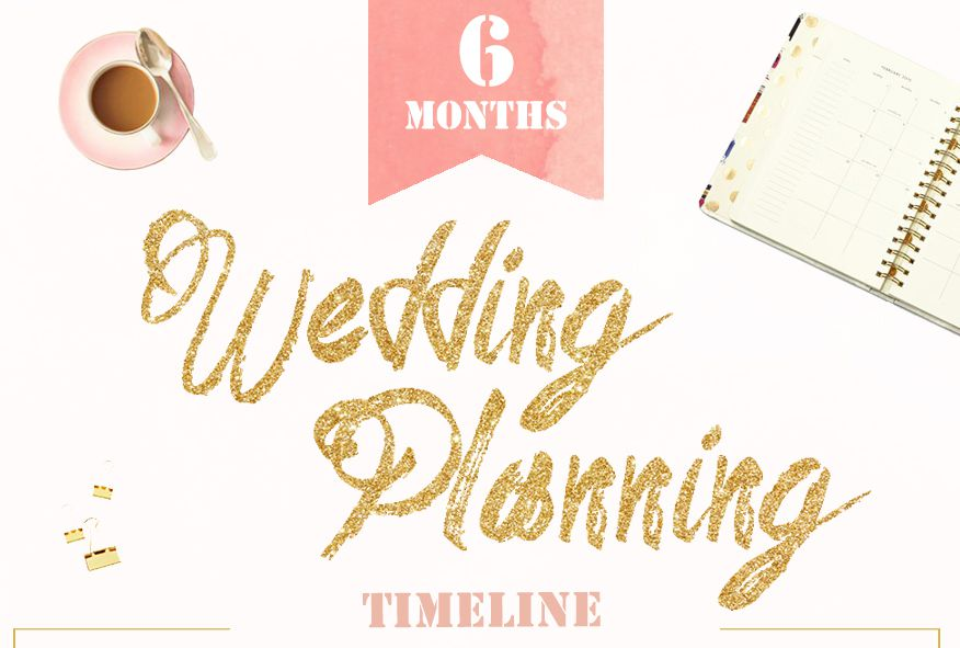 A 6-month pink and gold wedding timeline planner