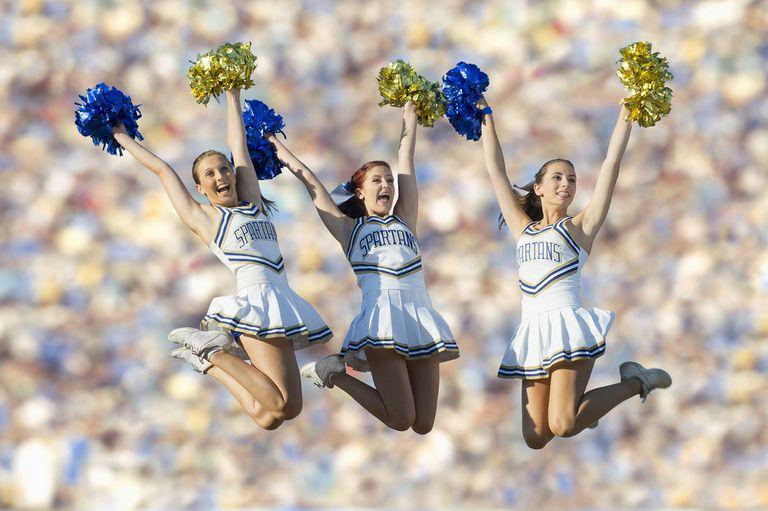 Cheerleaders Jumping in Mid-Air