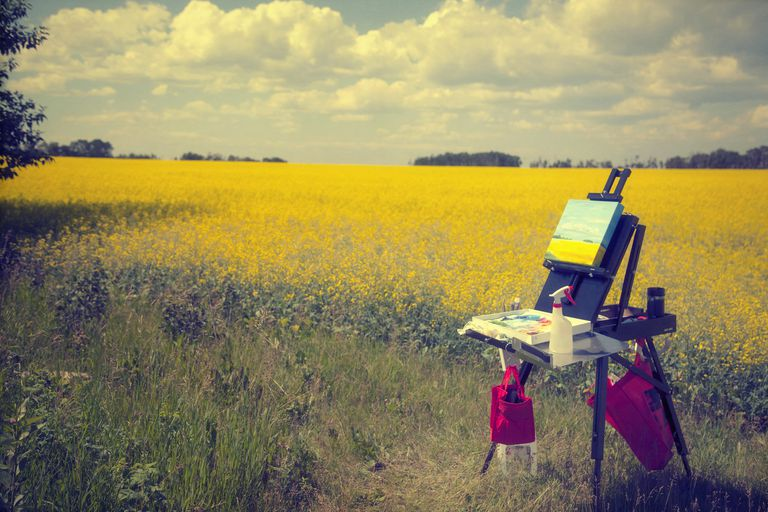 Artist's plein air easel set up in a field.