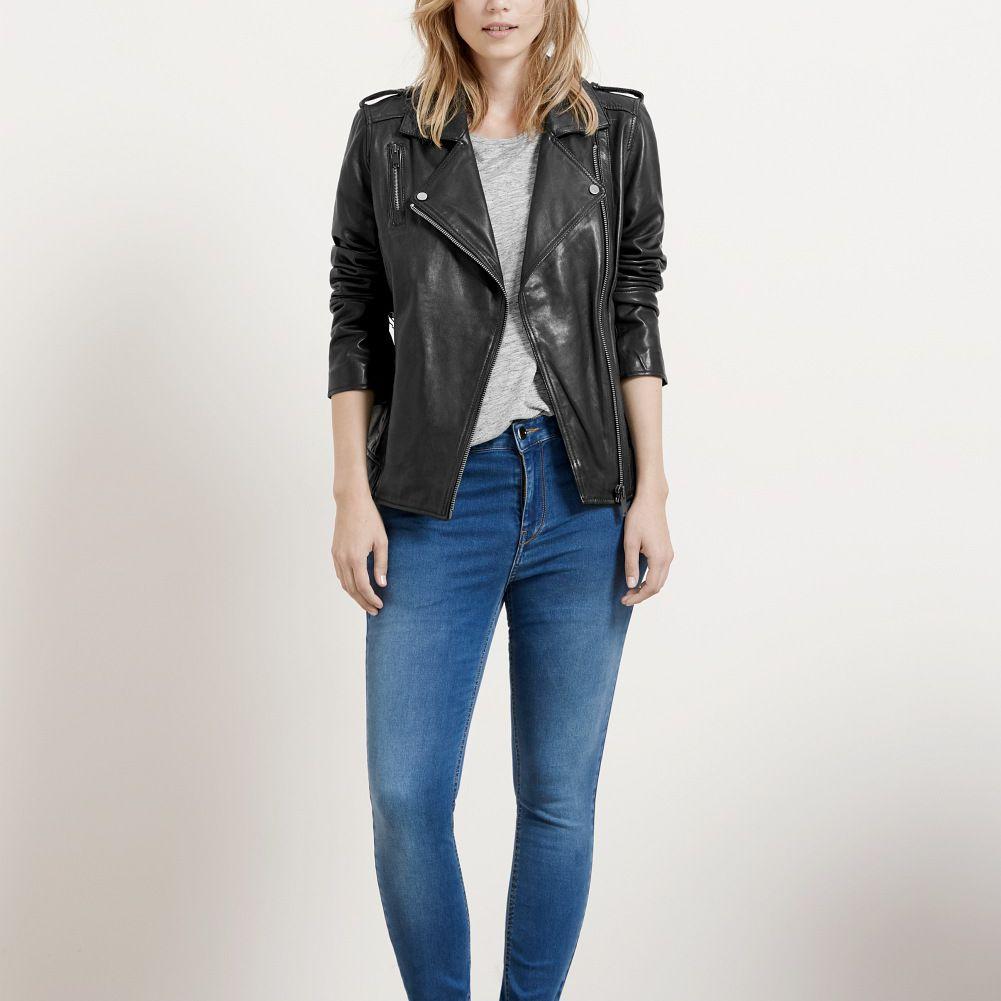 Mango skinny jeans and leather jacket