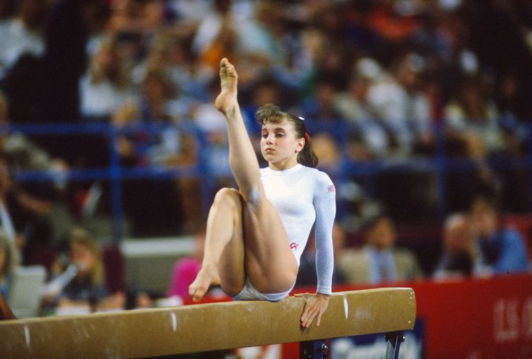 ymnast Kerri Strug of the United States competes on the Balance Beam during the 1992 Olympic Trials