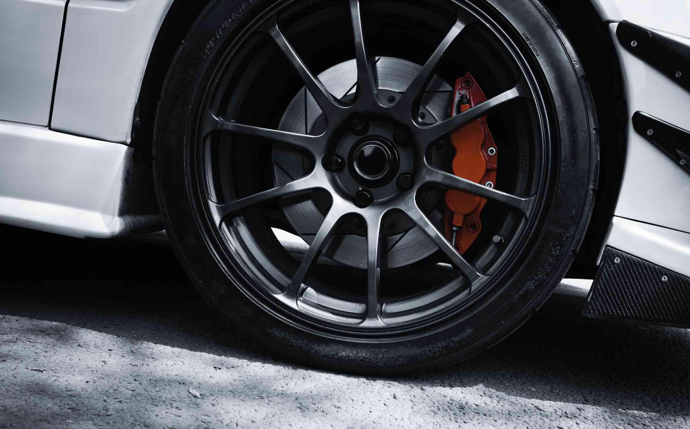 Red brake on a car