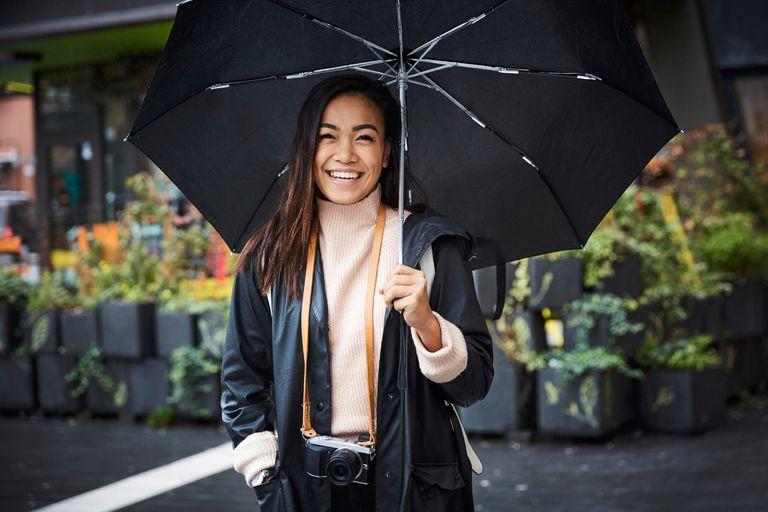 Woman smiling under an umbrella
