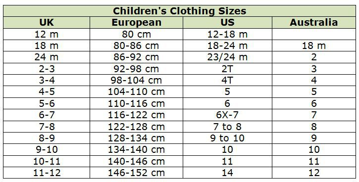 Children's Clothing Size Conversion Chart