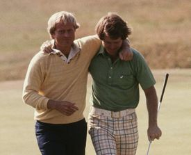 Jack Nicklaus (left) of the USA and Tom Watson (right) of the USA walk together at the 1977 British Open