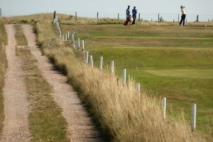 White lines show where out of bounds begins at Royal St. George golf course No. 14 hole