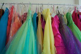 Prom dresses on a rack