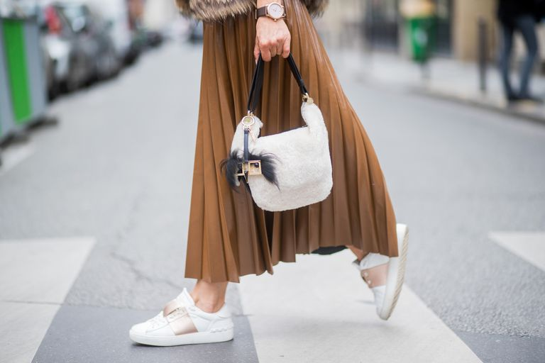 Street style - sneakers and long skirt