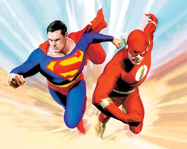 """Illustration of """"Superman vs The Flash"""" by Alex Ross"""