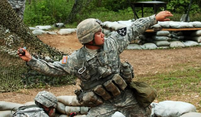 Soldiers doing training exercises