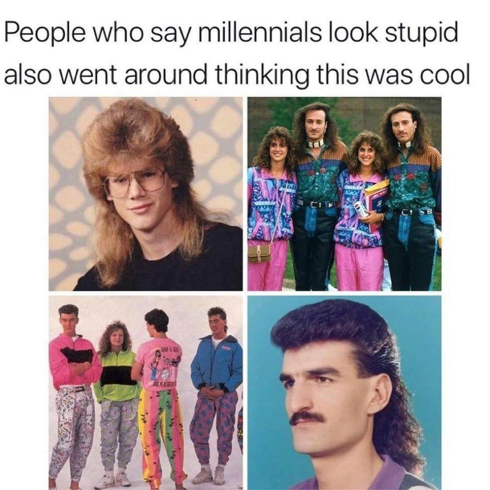 80s fashions like mullet cuts and parachute pants