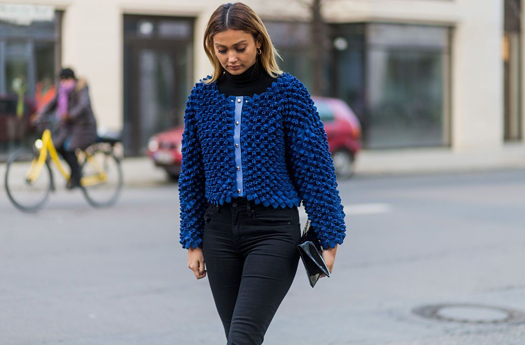 Street style in dark jeans
