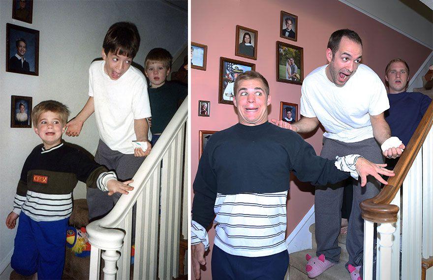 3 brothers recreate childhood photo
