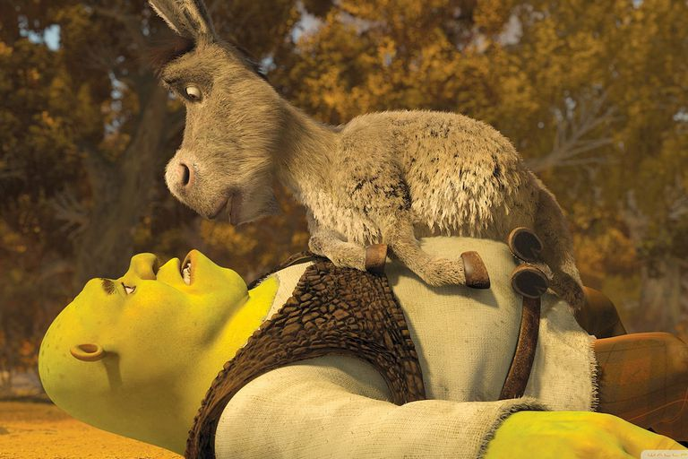 Shrek lying on his back on the ground with donkey on top looking into each other's faces