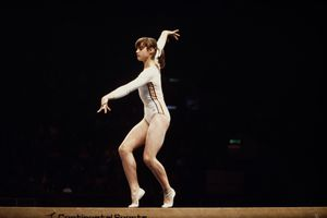 Nadia Comaneci of Romania performs her routine on the Balance Beam