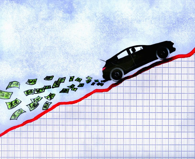 A car driving up a money graph