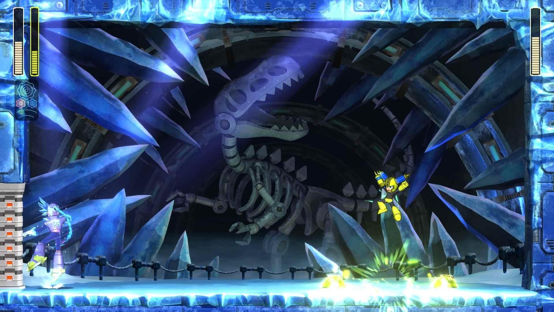 Mega Man attacks Tundra Man in Mega Man 11