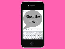 Illustration of a phone with She's the HBIC!! on the screen