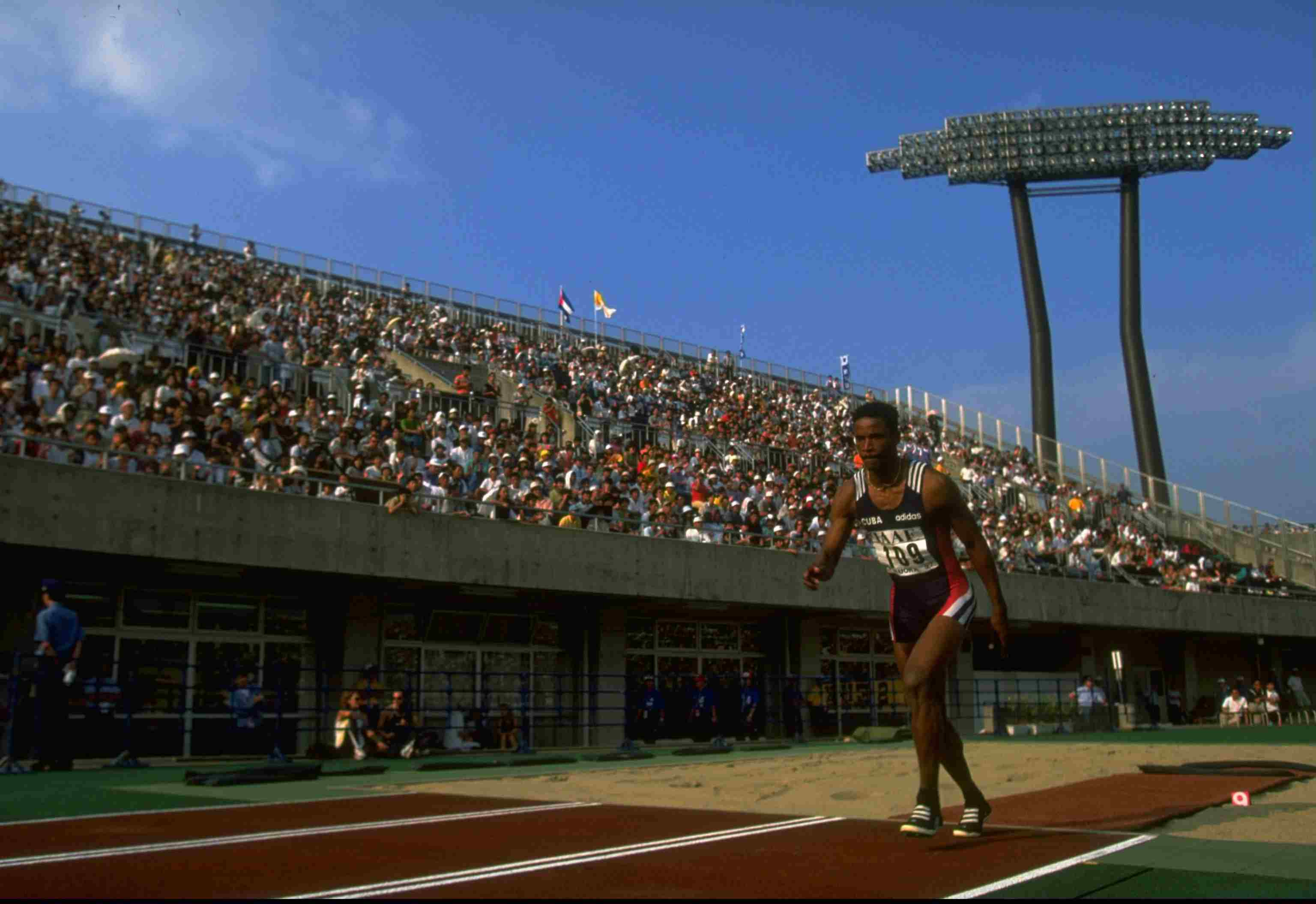 Ivan Pedroso of Cuba in action during the Long Jump event