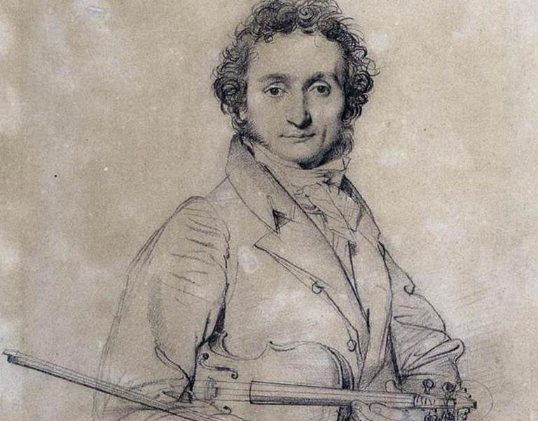 Pencil drawing of Paganini with a violin