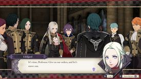 Byleth commands the Black Eagles in Fire Emblem: Three House for Switch.