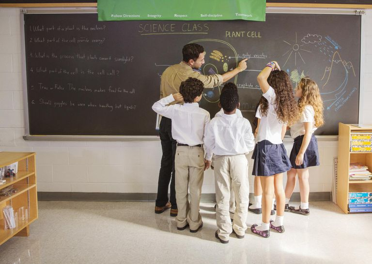 Teacher Showing Students Diagram on Chalkboard