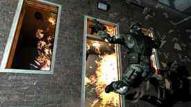 A soldier escapes an exploding building in F.E.A.R.