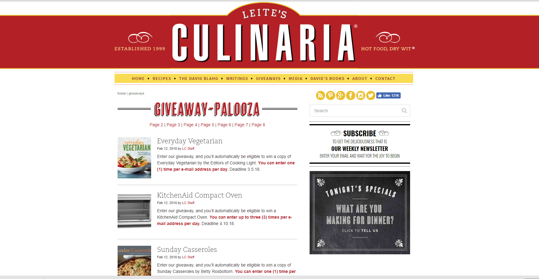 Screenshot of Leite's Culinaria's Giveaway Page