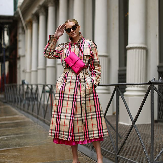 Woman in plaid coat for spring fashion